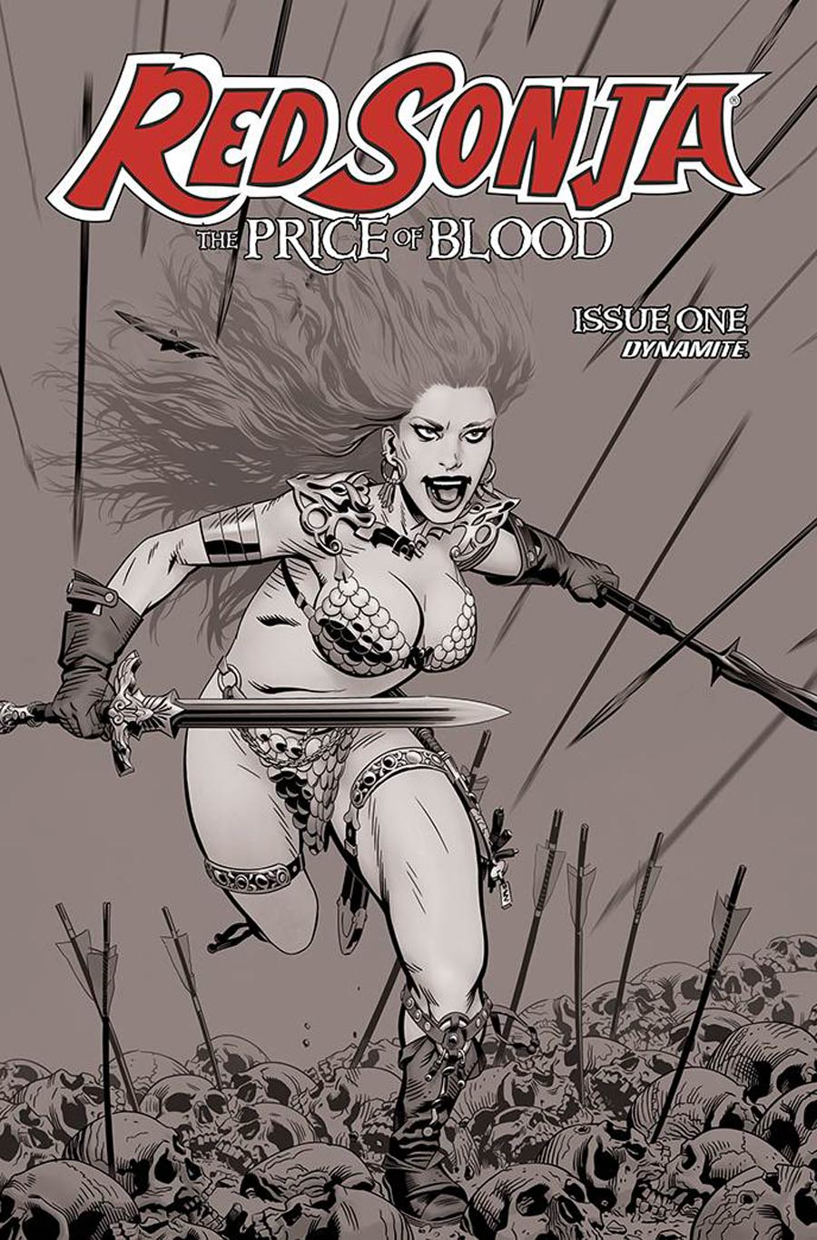 Red Sonja Price Of Blood #1 Cover F Incentive Michael Golden Black & White Cover