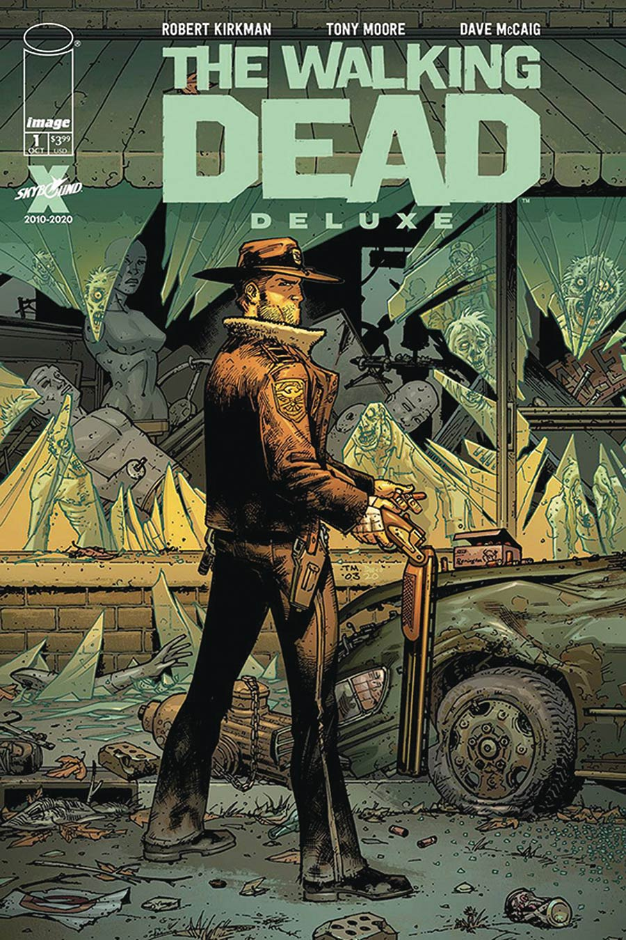 Walking Dead Deluxe #1 Cover F DF Tony Moore Cover CGC Graded
