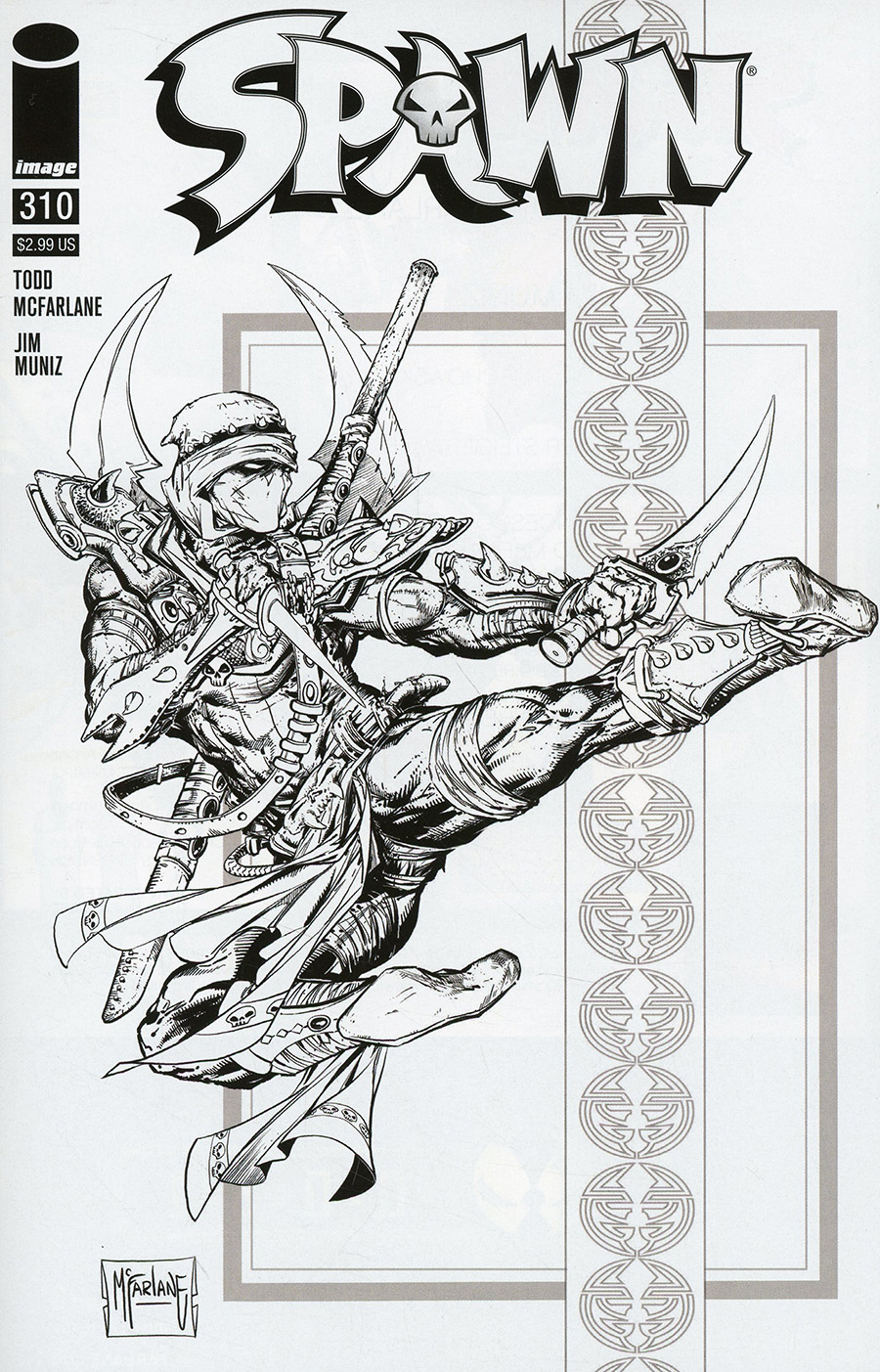 Spawn #310 Cover D Incentive Todd McFarlane Black & White Cover