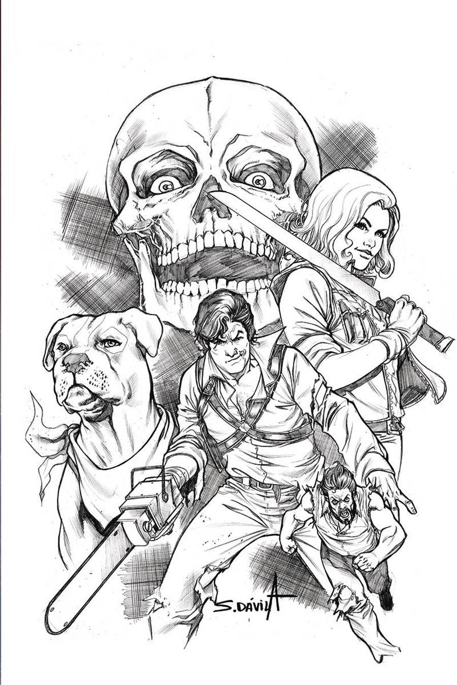 Death To The Army Of Darkness #5 Cover F Incentive Sergio Davila Black & White Virgin Cover