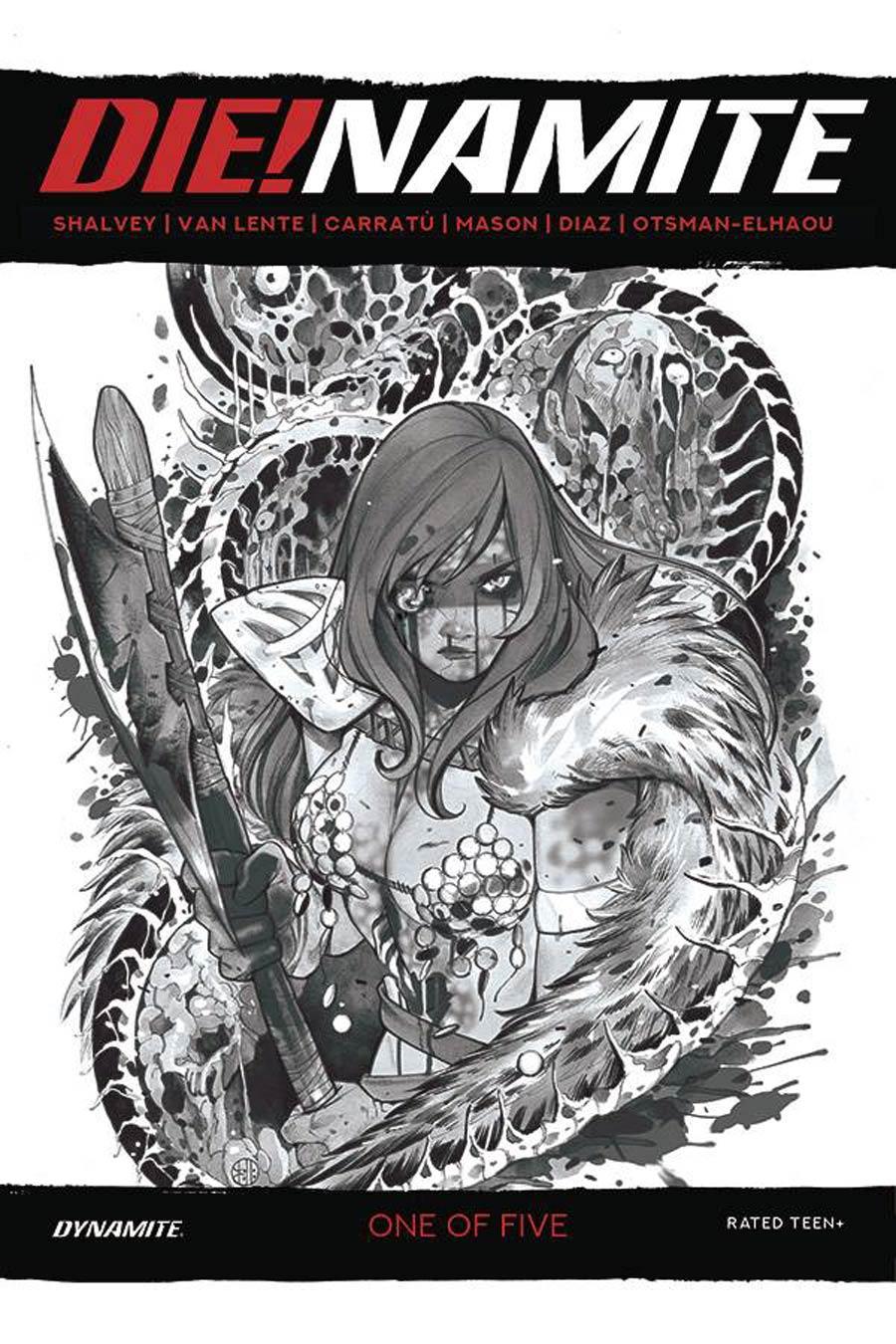 DieNamite #1 Cover O Incentive Peach Momoko Red Sonja Zombie Living Dead Grayscale Cover