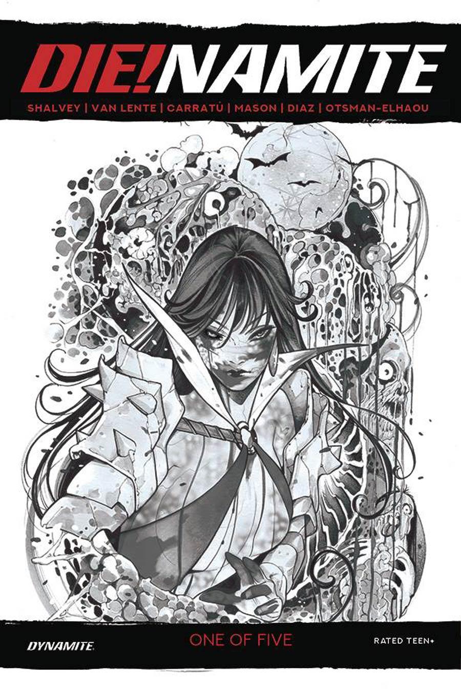 DieNamite #1 Cover Q Incentive Peach Momoko Vampirella Zombie Living Dead Grayscale Cover
