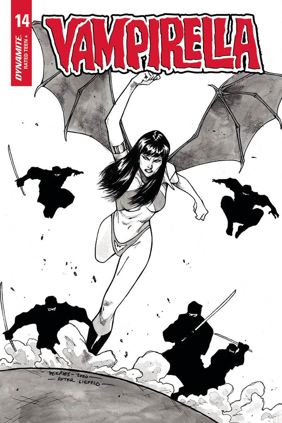 Vampirella Vol 8 #14 Cover Q Incentive Brent Peeples Rob Liefeld Homage Black & White Cover