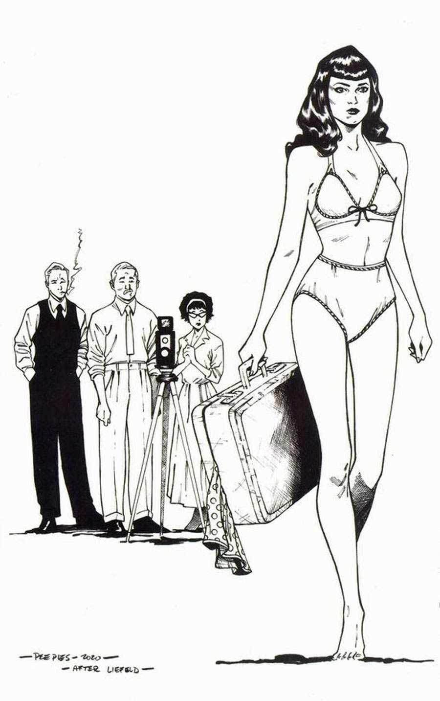 Bettie Page Vol 3 #3 Cover P Incentive Brent Peeples Rob Liefeld Homage Black & White Virgin Cover