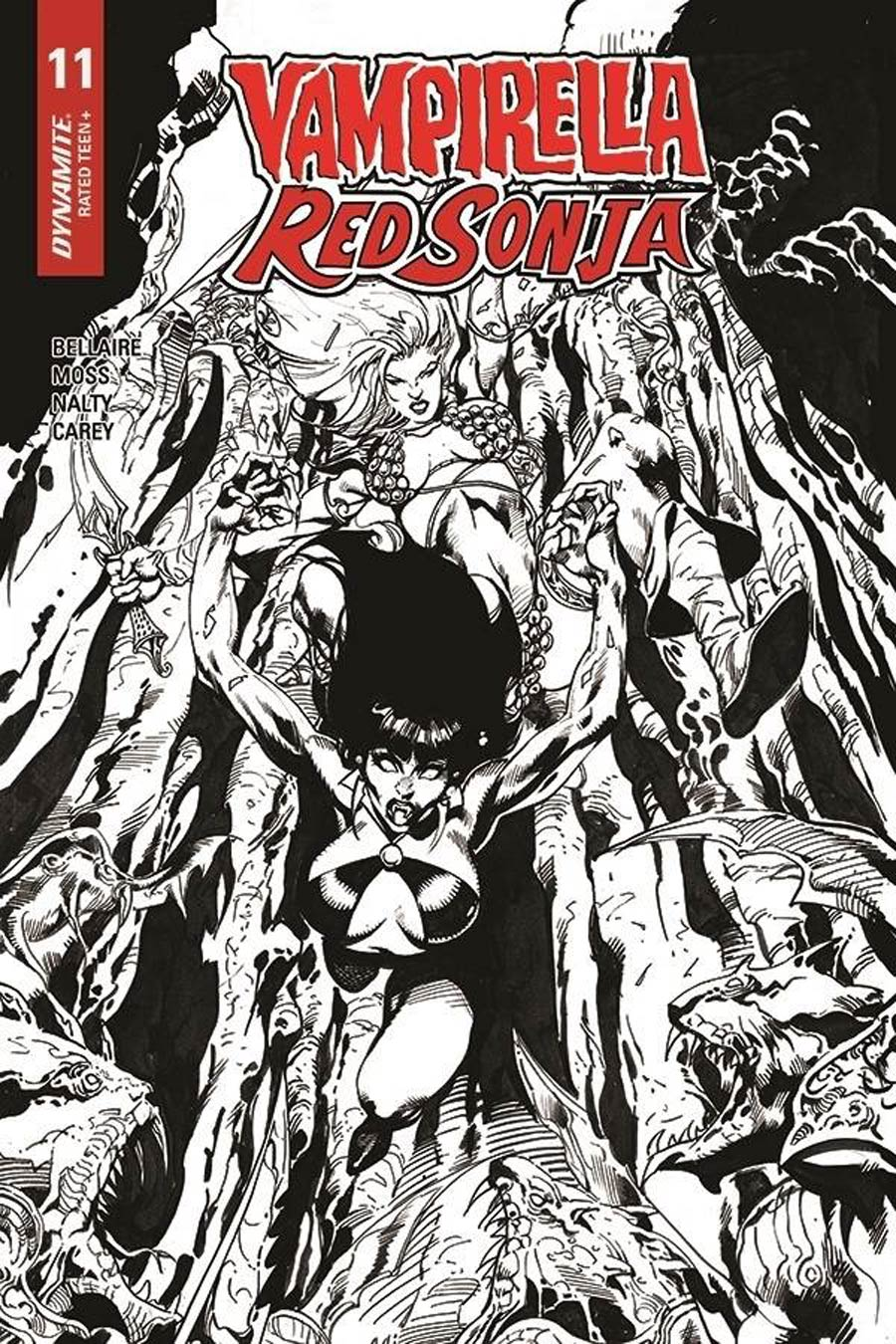 Vampirella Red Sonja #11 Cover H Incentive Roberto Castro Black & White Cover