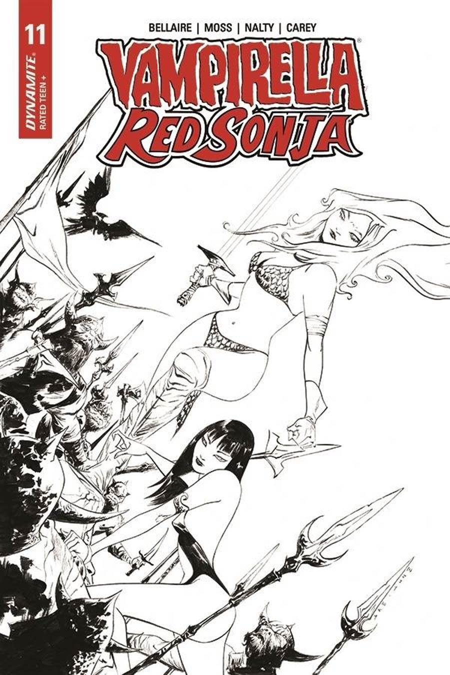 Vampirella Red Sonja #11 Cover N Incentive Jae Lee Black & White Cover