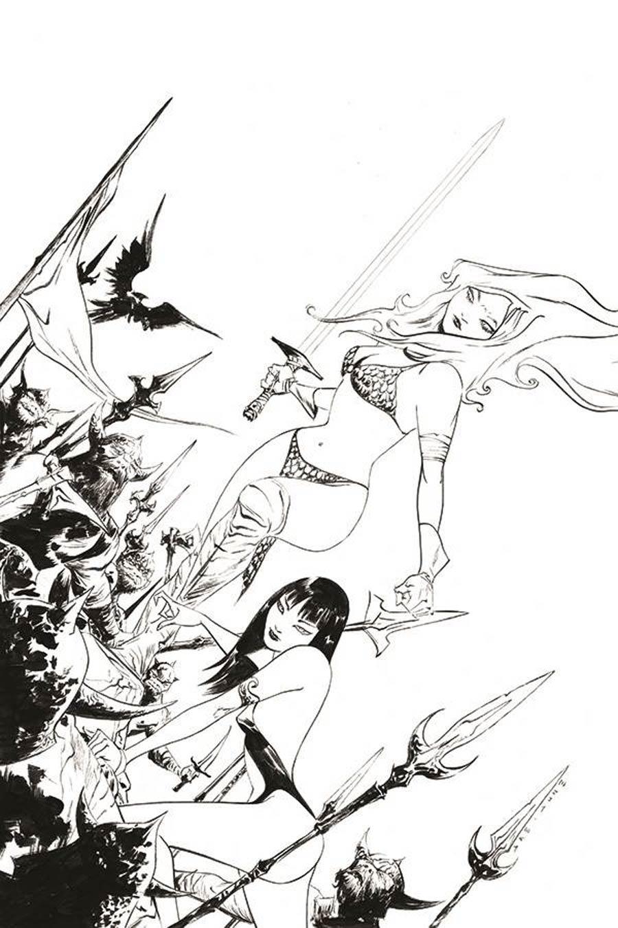 Vampirella Red Sonja #11 Cover O Incentive Jae Lee Black & White Virgin Cover