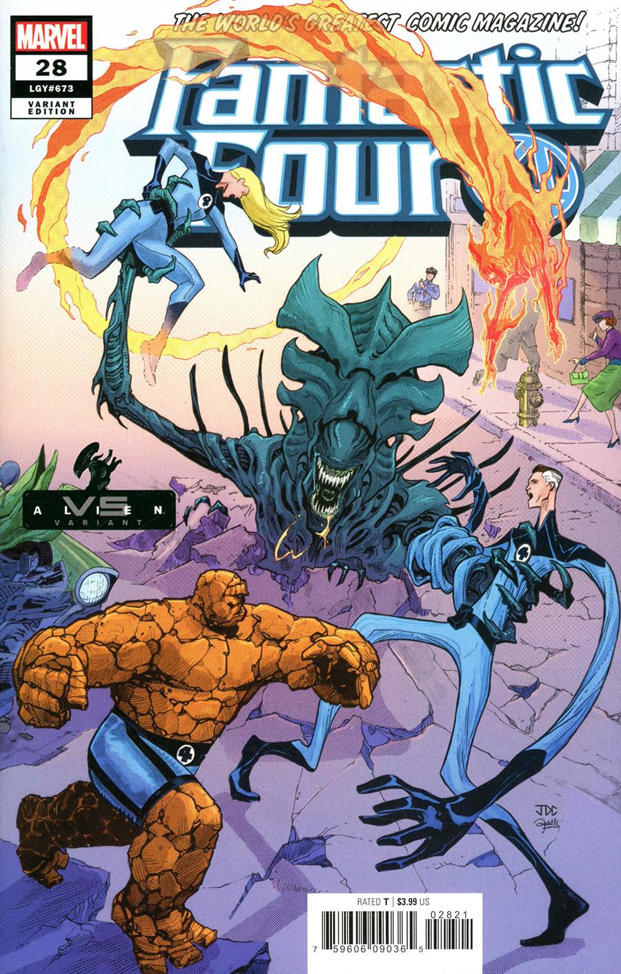 Fantastic Four Vol 6 #28 Cover B Variant Joshua Cassara Marvel vs Alien Cover