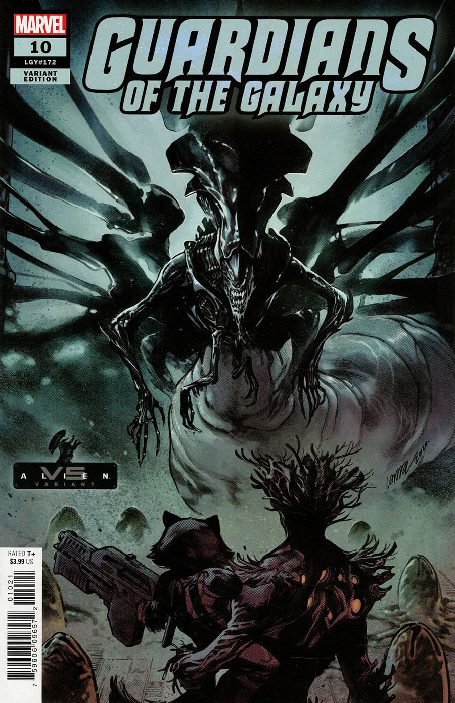 Guardians Of The Galaxy Vol 6 #10 Cover B Variant Pepe Larraz Marvel vs Alien Cover (King In Black Tie-In)