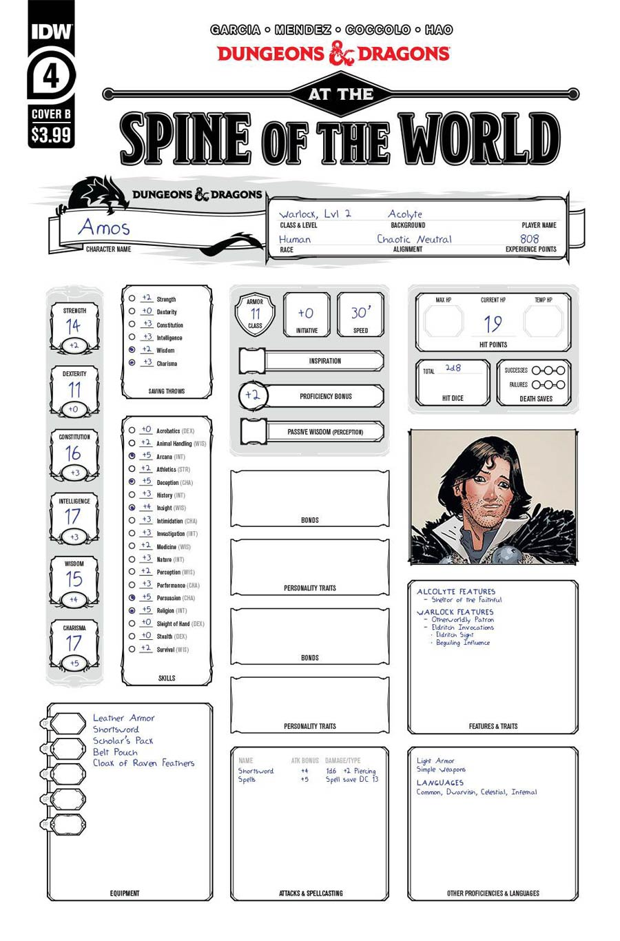 Dungeons & Dragons At The Spine Of The World #4 Cover B Variant Character Sheet Cover
