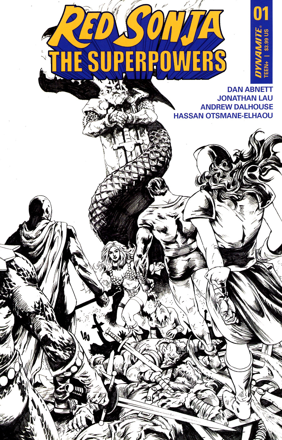 Red Sonja The Superpowers #1 Cover J Incentive Jonathan Lau Black & White Cover
