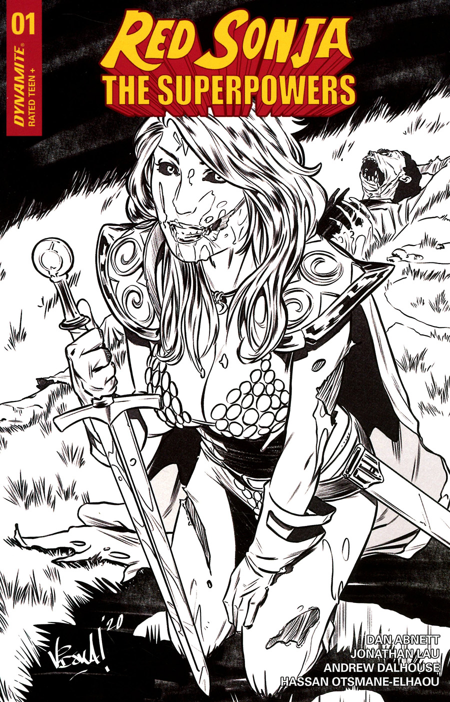 Red Sonja The Superpowers #1 Cover K Incentive Vincenzo Federici Zombie Black & White Variant Cover