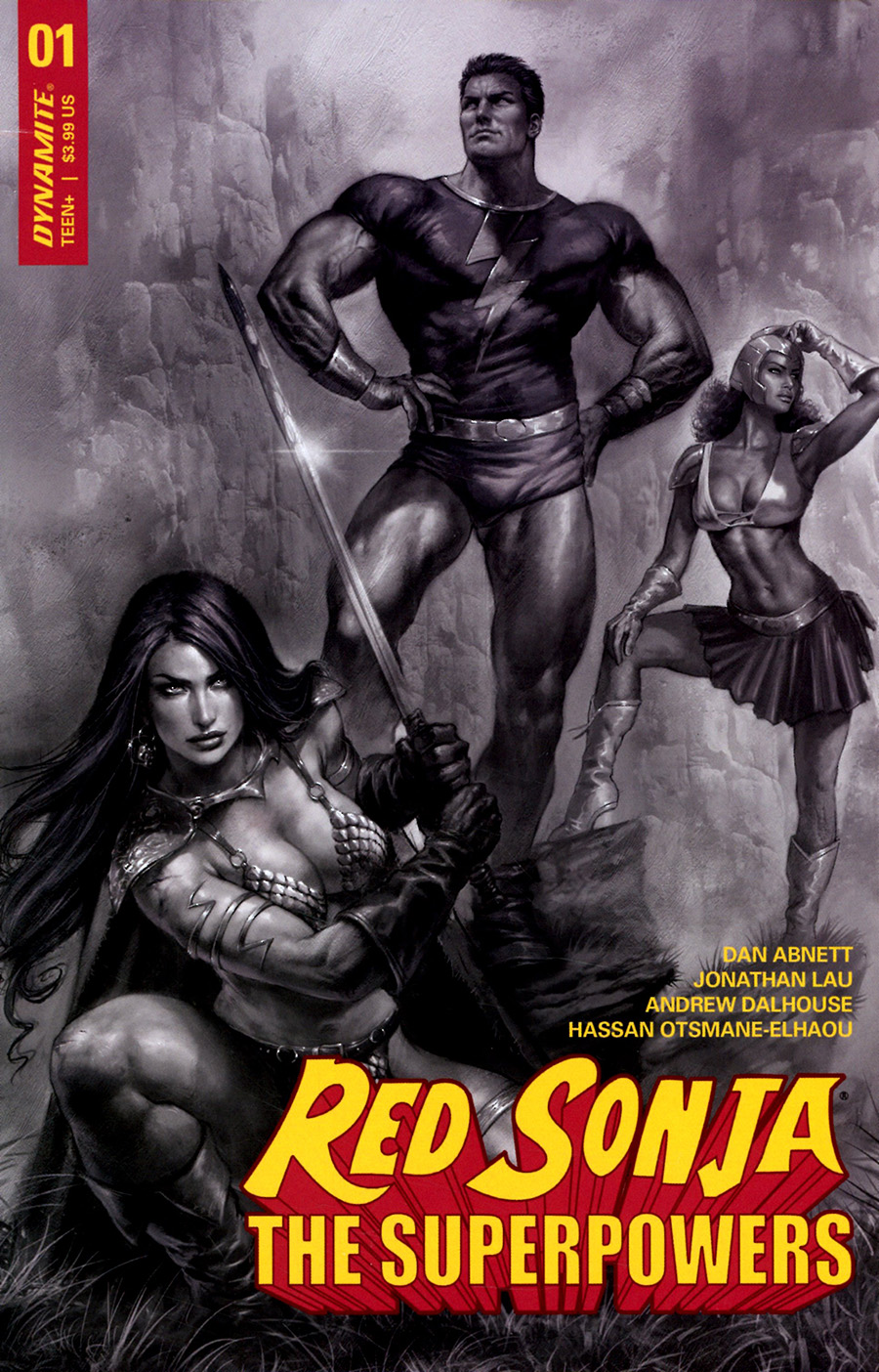 Red Sonja The Superpowers #1 Cover L Incentive Lucio Parrillo Black & White Cover