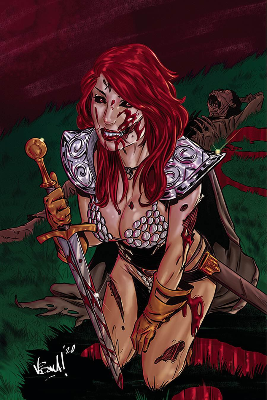 Red Sonja The Superpowers #1 Cover M Incentive Vincenzo Federici Zombie Virgin Variant Cover