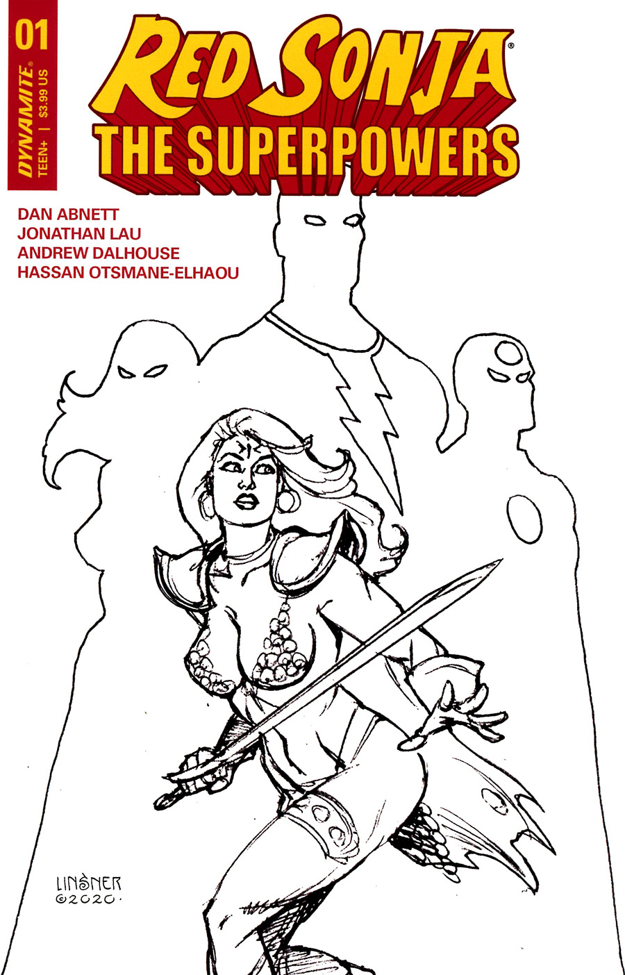 Red Sonja The Superpowers #1 Cover Q Incentive Joseph Michael Linsner Black & White Cover