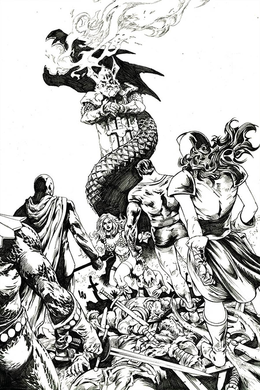 Red Sonja The Superpowers #1 Cover R Incentive Jonathan Lau Black & White Virgin Cover