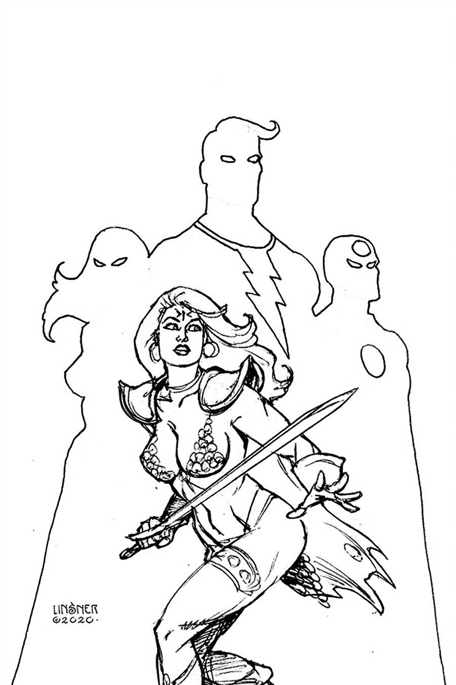 Red Sonja The Superpowers #1 Cover T Incentive Joseph Michael Linsner Black & White Virgin Cover