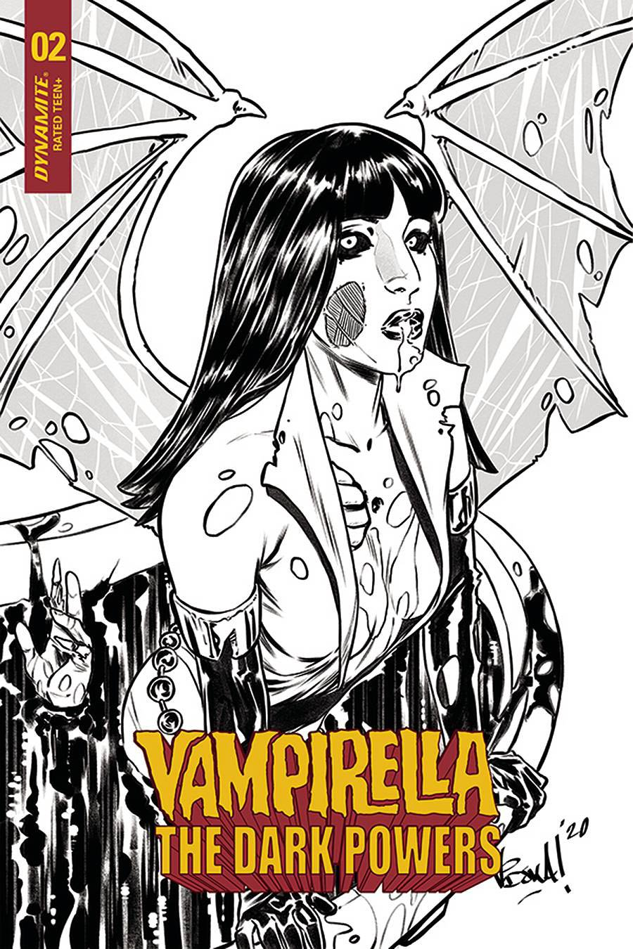 Vampirella The Dark Powers #2 Cover K Incentive Vincenzo Federici Zombie Black & White Variant Cover