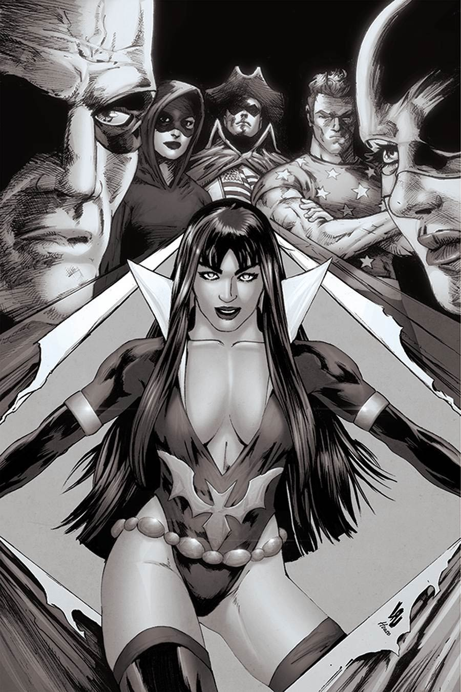 Vampirella The Dark Powers #2 Cover O Incentive Jonathan Lau Black & White Virgin Cover