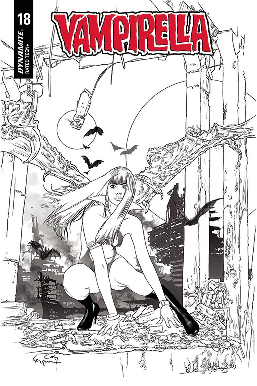 Vampirella Vol 8 #18 Cover L Incentive Ergun Gunduz Black & White Cover