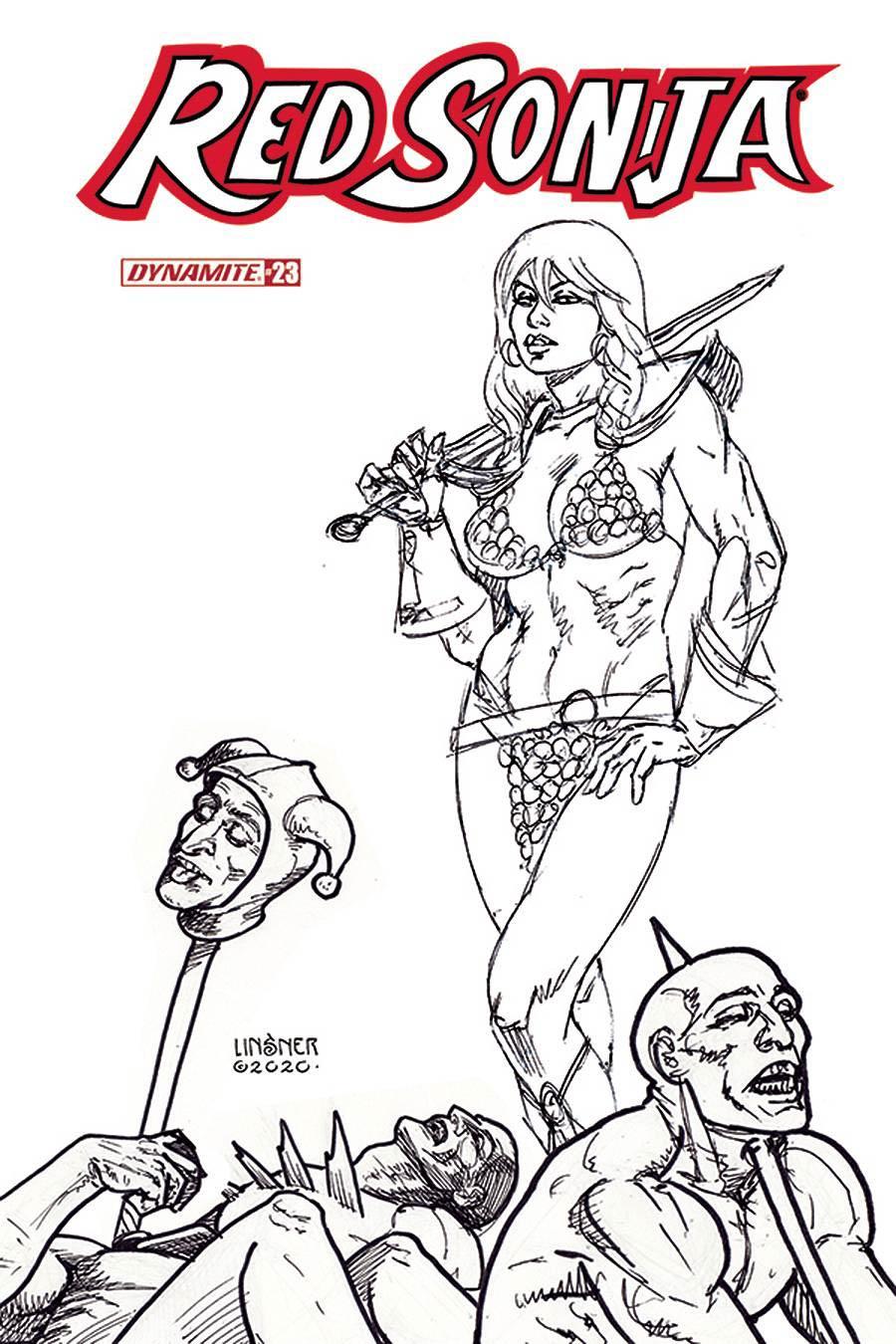 Red Sonja Vol 8 #23 Cover J Incentive Joseph Michael Linsner Black & White Cover