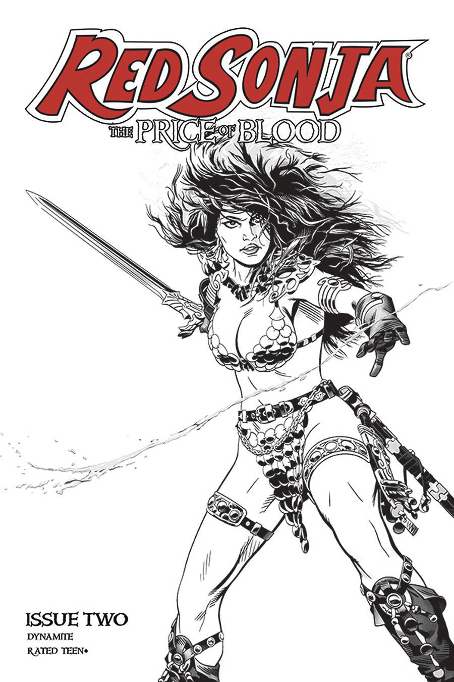 Red Sonja Price Of Blood #2 Cover F Incentive Michael Golden Black & White Cover