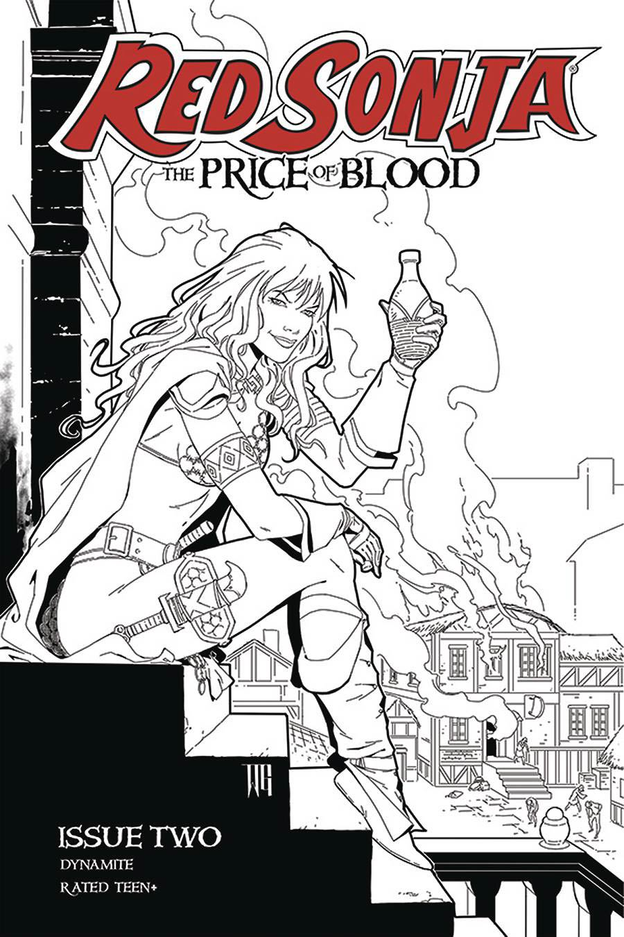 Red Sonja Price Of Blood #2 Cover H Incentive Walter Geovani Black & White Cover