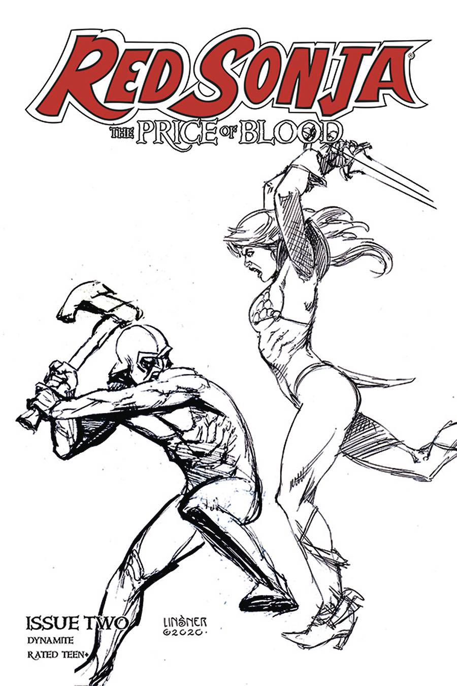 Red Sonja Price Of Blood #2 Cover L Incentive Joseph Michael Linsner Black & White Cover