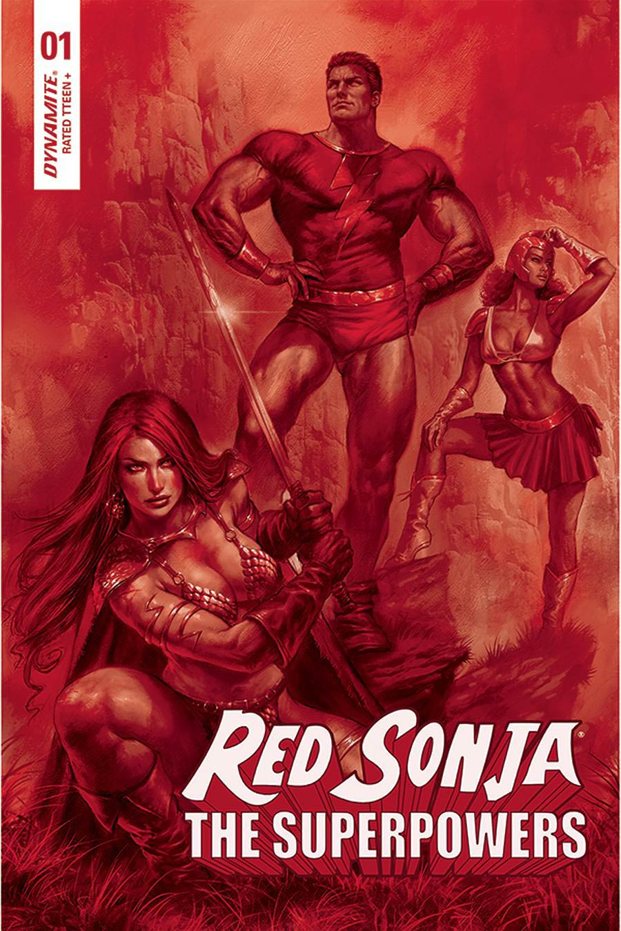 Red Sonja The Superpowers #1 Cover Z-B Ultra-Premium Limited Edition Lucio Parrillo Crimson Red Line Art Cover