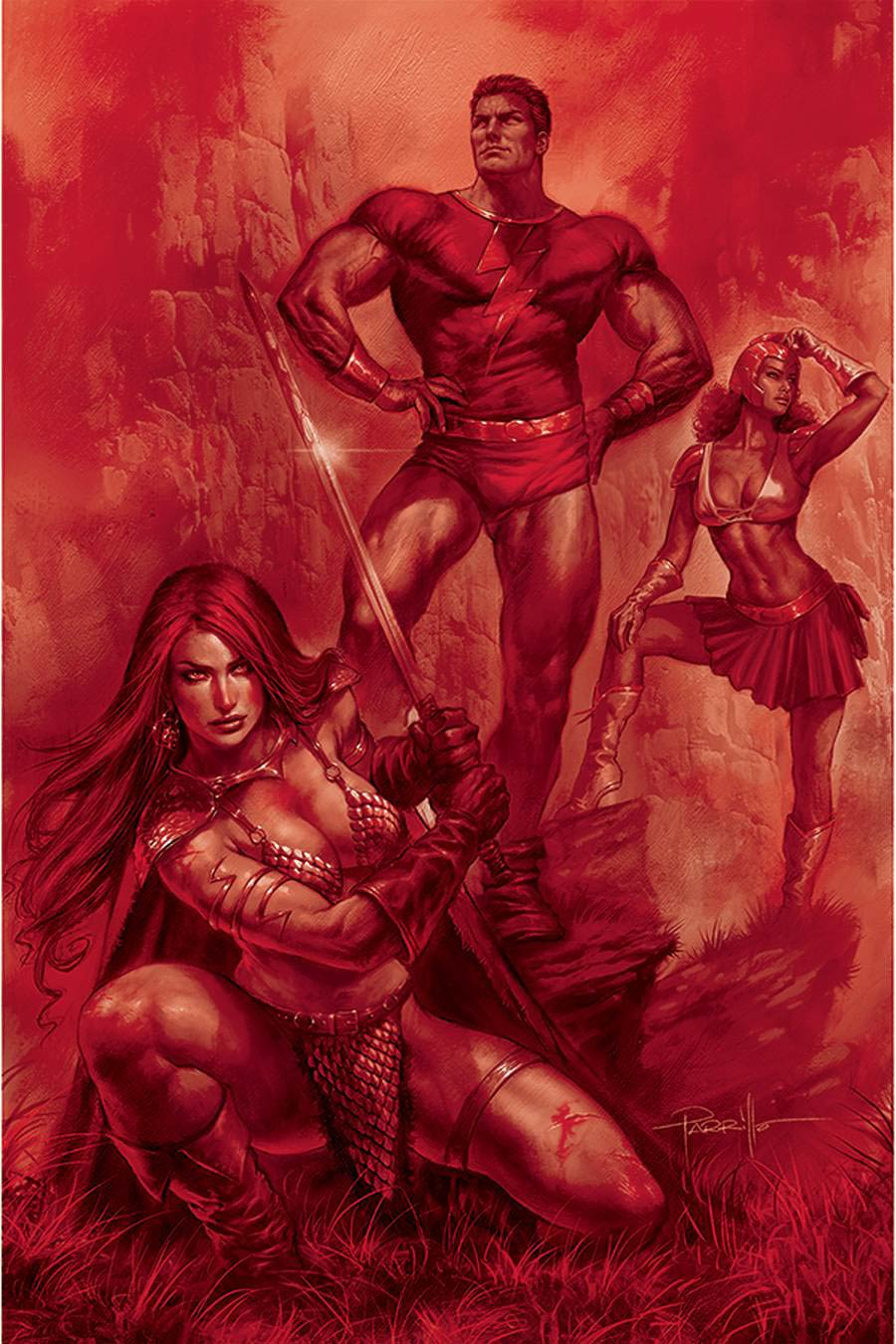 Red Sonja The Superpowers #1 Cover Z-C Ultra-Premium Limited Edition Lucio Parrillo Crimson Red Line Art Virgin Cover