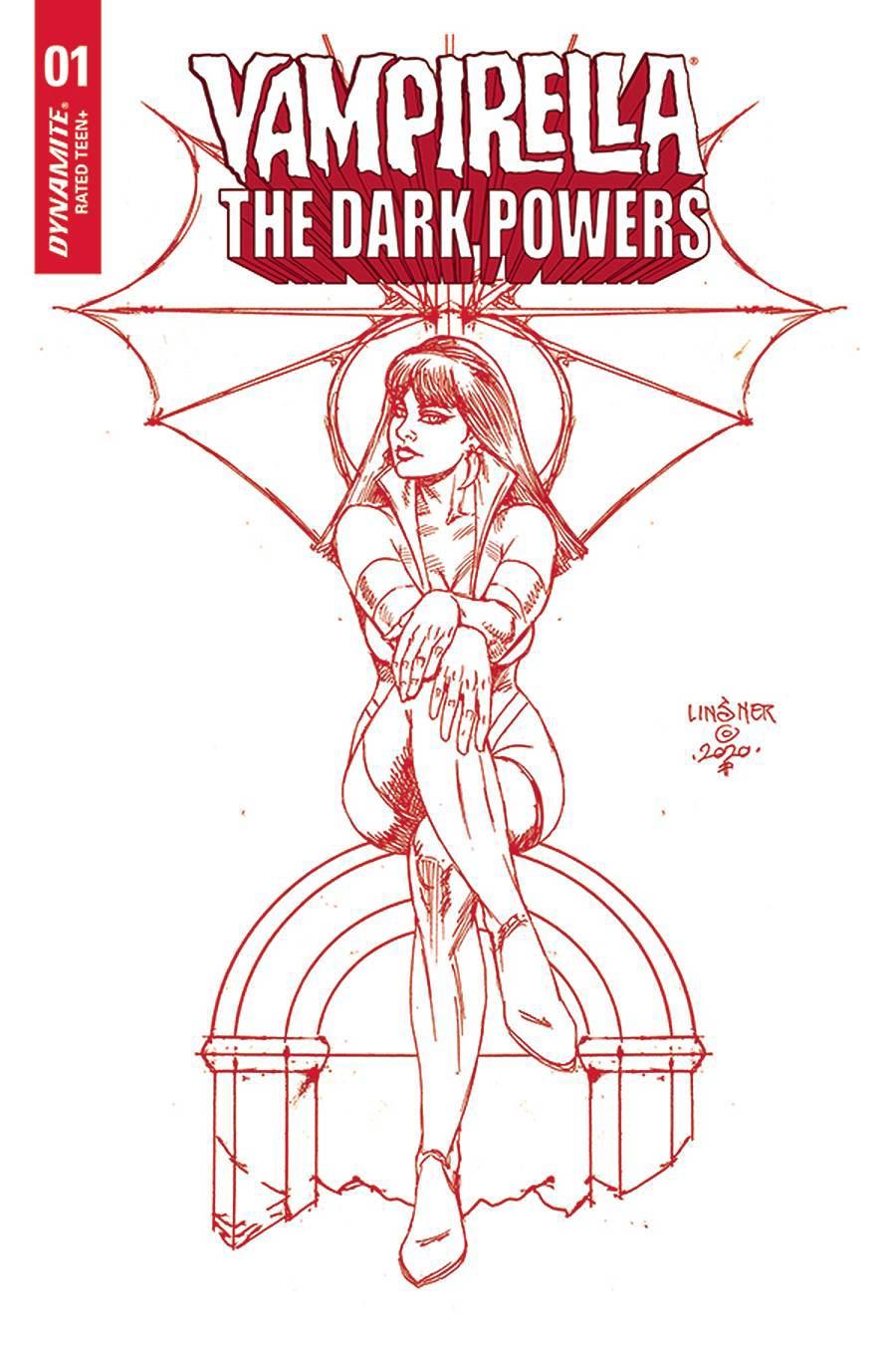 Vampirella The Dark Powers #2 Cover Z-A Ultra-Premium Limited Edition Joseph Michael Linsner Crimson Red Line Art Cover