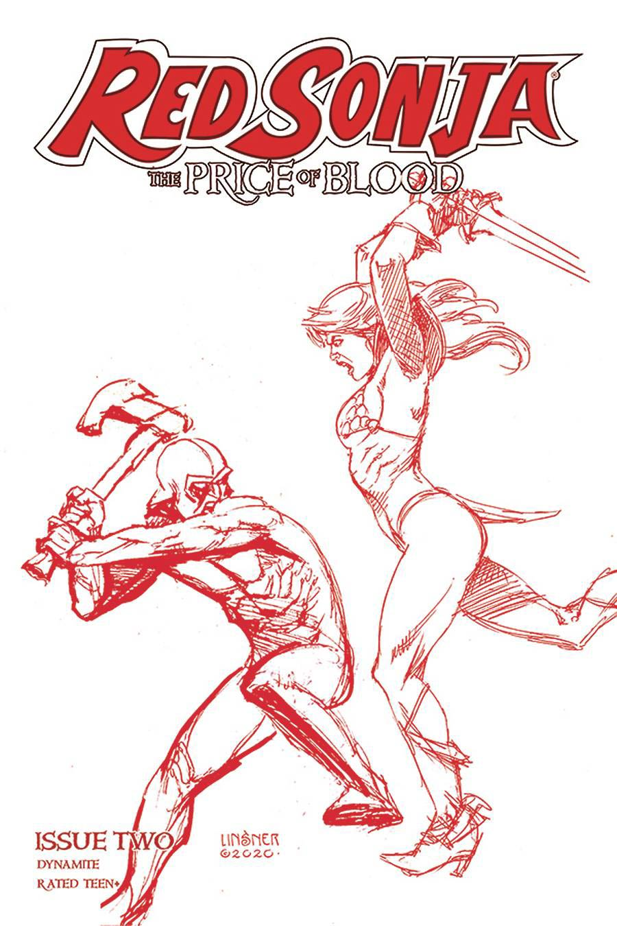 Red Sonja Price Of Blood #2 Cover R Ultra-Premium Limited Edition Joseph Michael Linsner Crimson Red Line Art Cover