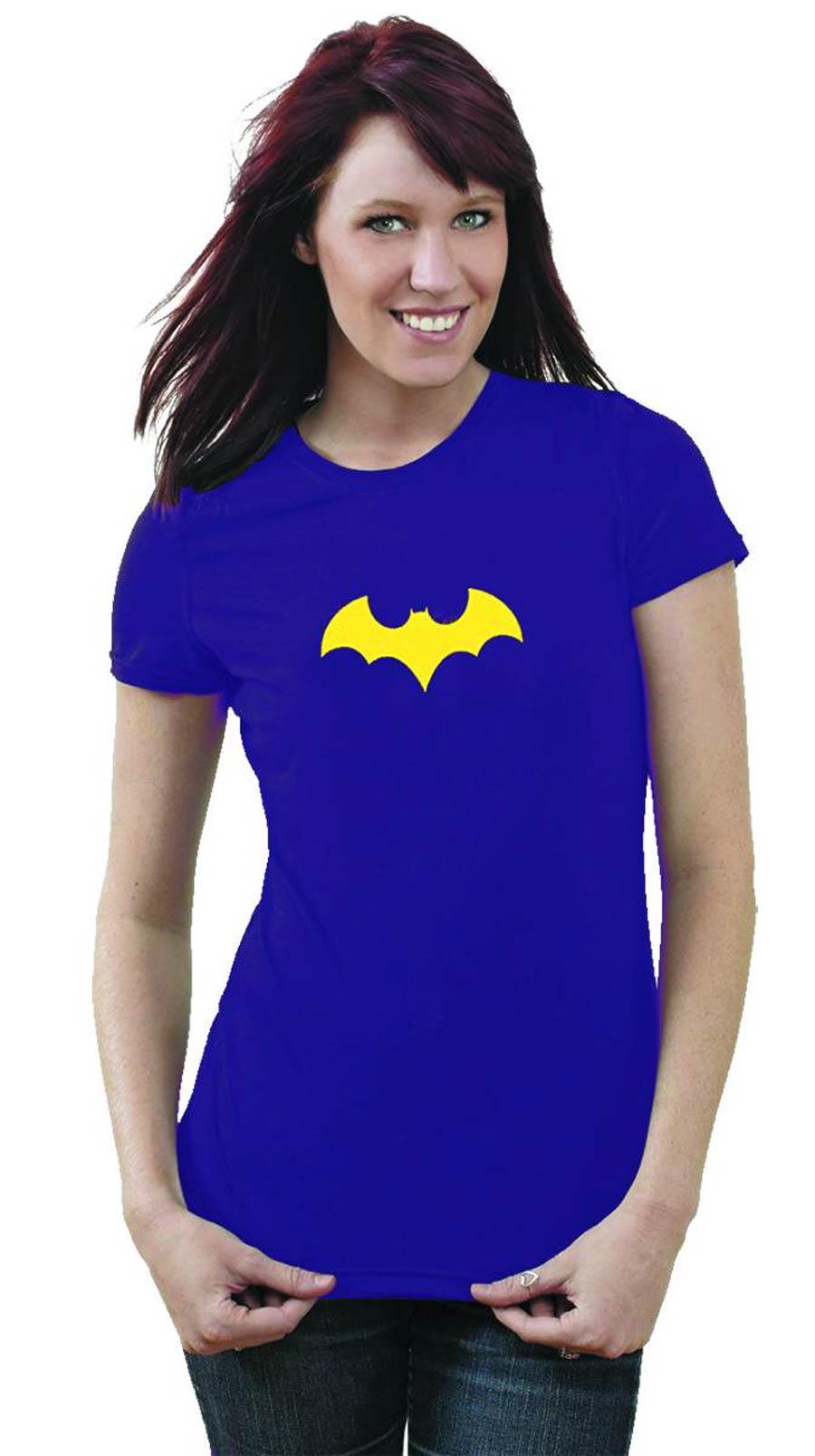 Batgirl Symbol Purple Womens T-Shirt Large
