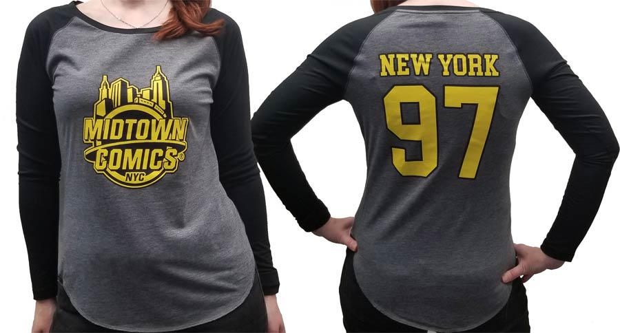 Midtown Comics Black And Yellow Logo Grey And Black Womens Long Sleeve Shirt Large