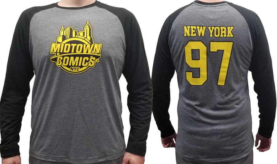 Midtown Comics Black And Yellow Logo Grey And Black Mens Long Sleeve Shirt Large