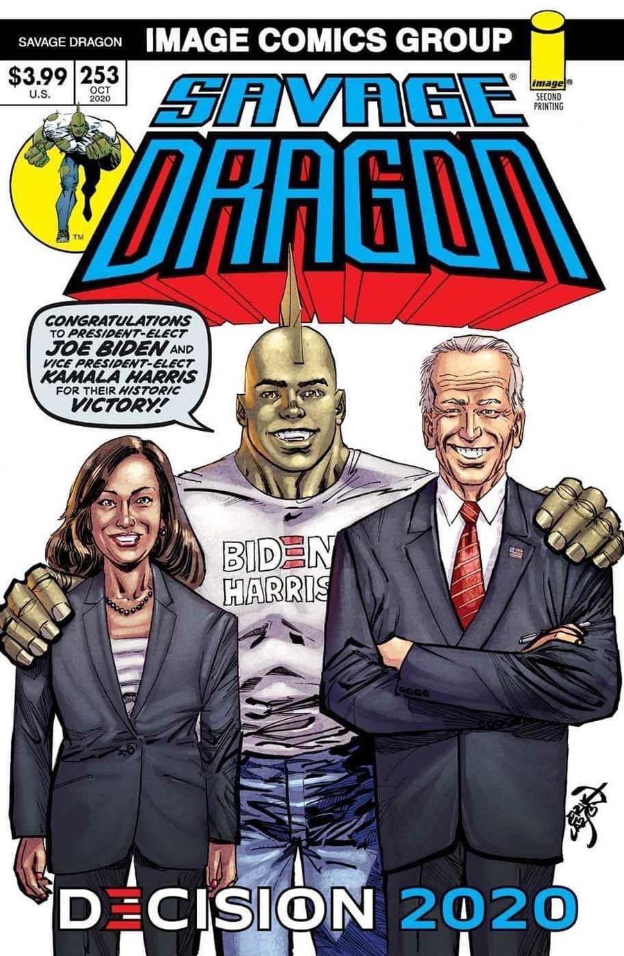 Savage Dragon Vol 2 #253 Cover C 2nd Ptg Variant Erik Larsen Joe Biden Kamala Harris Cover