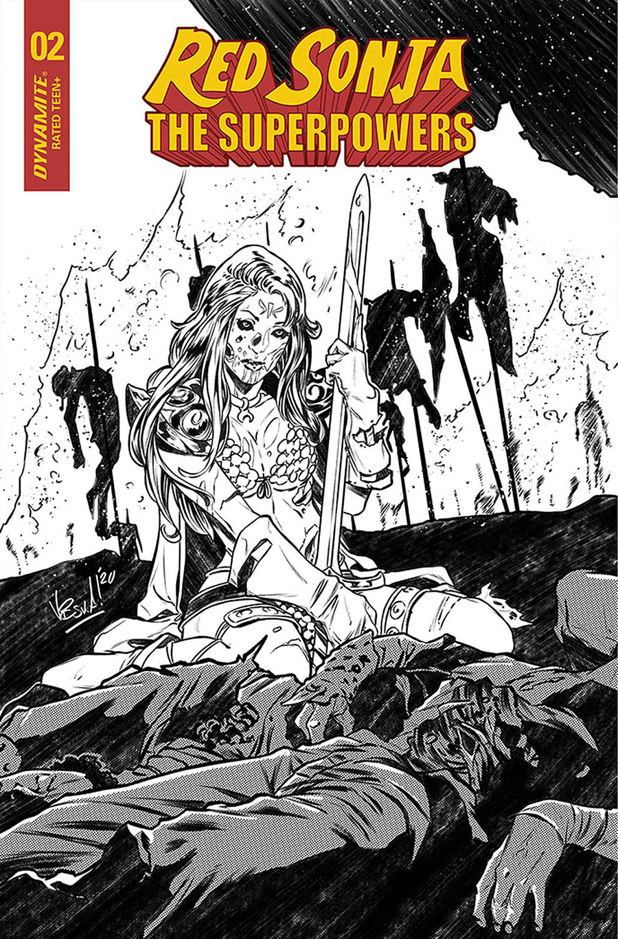Red Sonja The Superpowers #2 Cover P Incentive Vincenzo Federici Black & White Cover