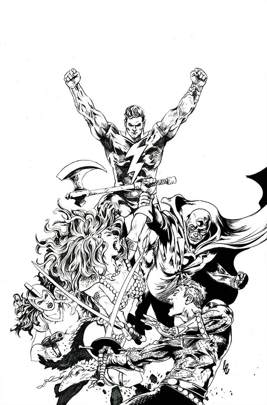 Red Sonja The Superpowers #2 Cover S Incentive Jonathan Lau Black & White Virgin Cover