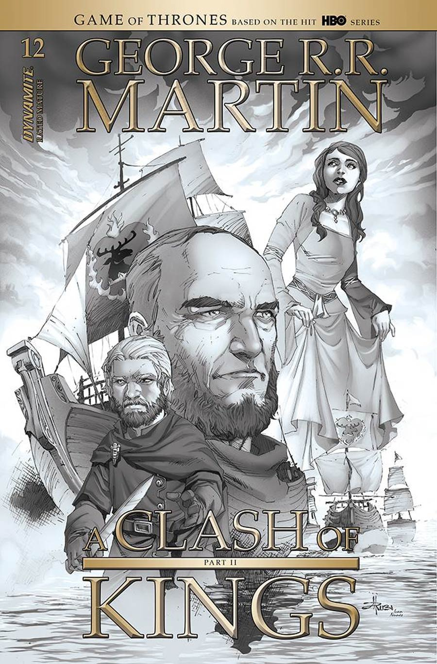 Game Of Thrones Clash Of Kings Vol 2 #12 Cover D Incentive Mel Rubi Black & White Cover