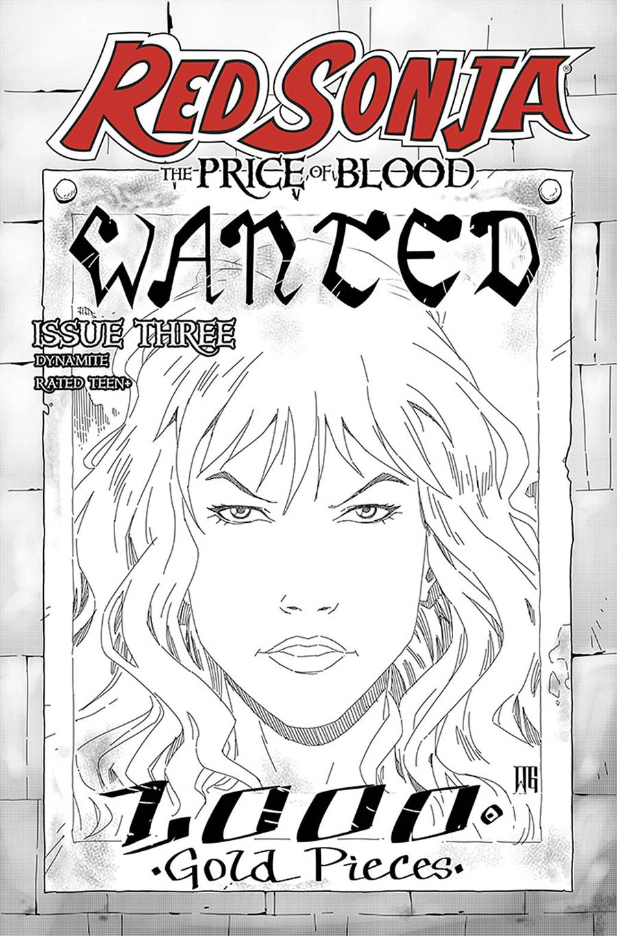 Red Sonja Price Of Blood #3 Cover H Incentive Walter Geovani Black & White Cover