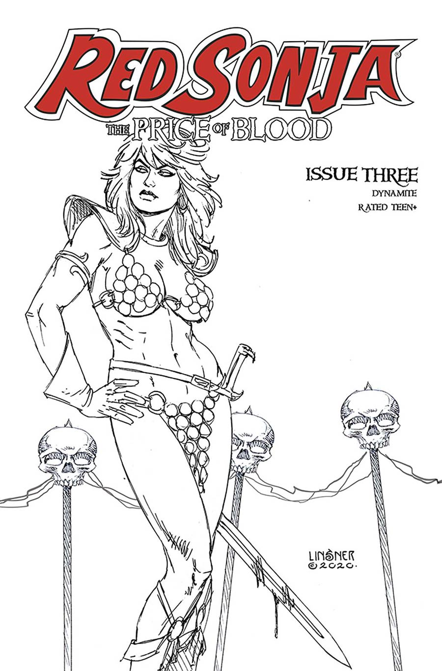 Red Sonja Price Of Blood #3 Cover L Incentive Joseph Michael Linsner Black & White Cover