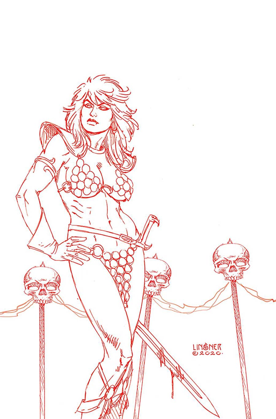 Red Sonja Price Of Blood #3 Cover S Ultra-Premium Limited Edition Joseph Michael Linsner Crimson Red Line Art Virgin Cover