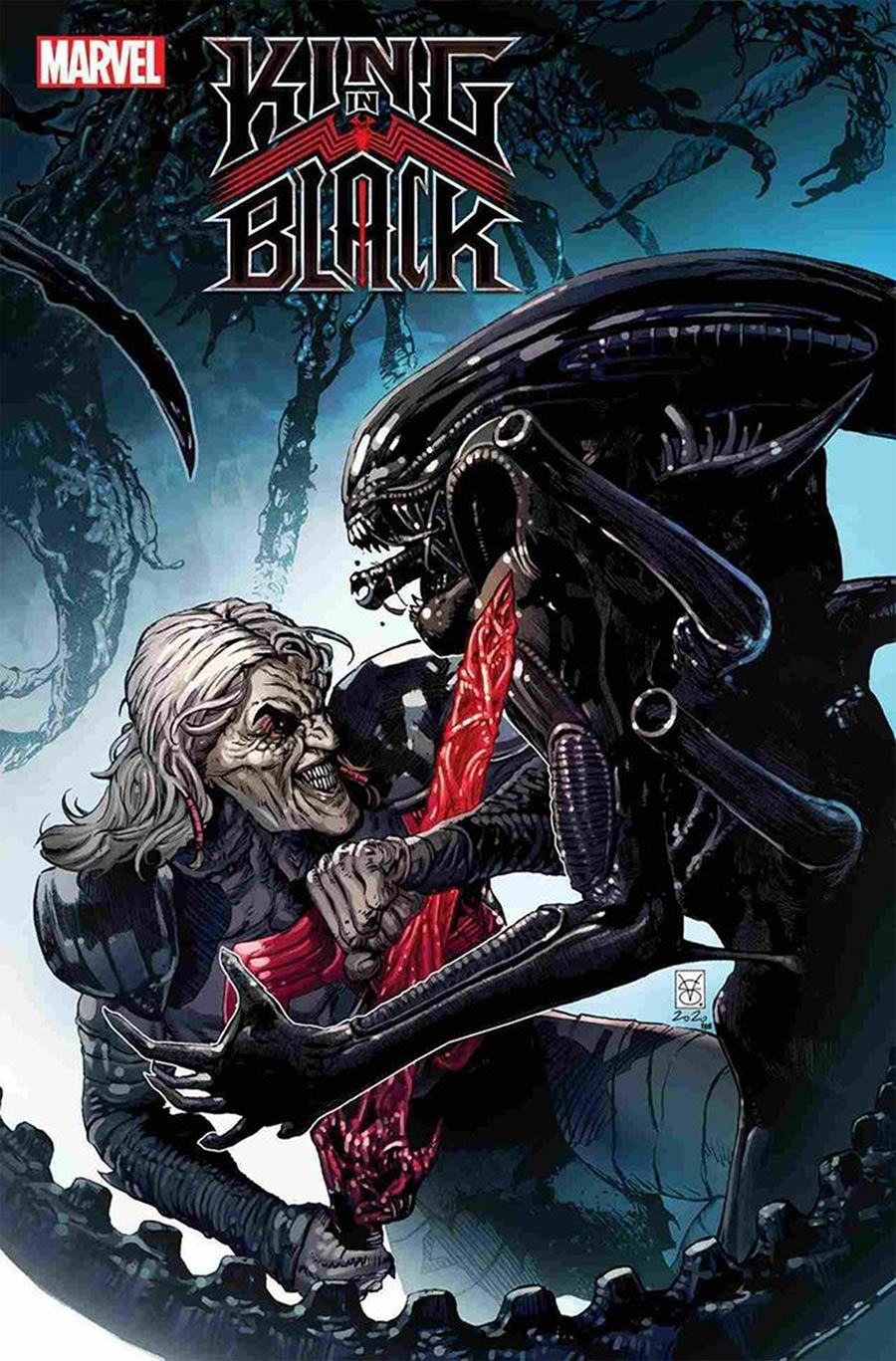 King In Black #3 Cover J DF Marvel vs Alien Variant Cover Gold Signature Series Signed By Donny Cates