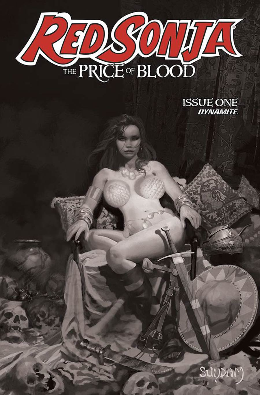 Red Sonja Price Of Blood #1 Cover G Incentive Arthur Suydam Black & White Cover
