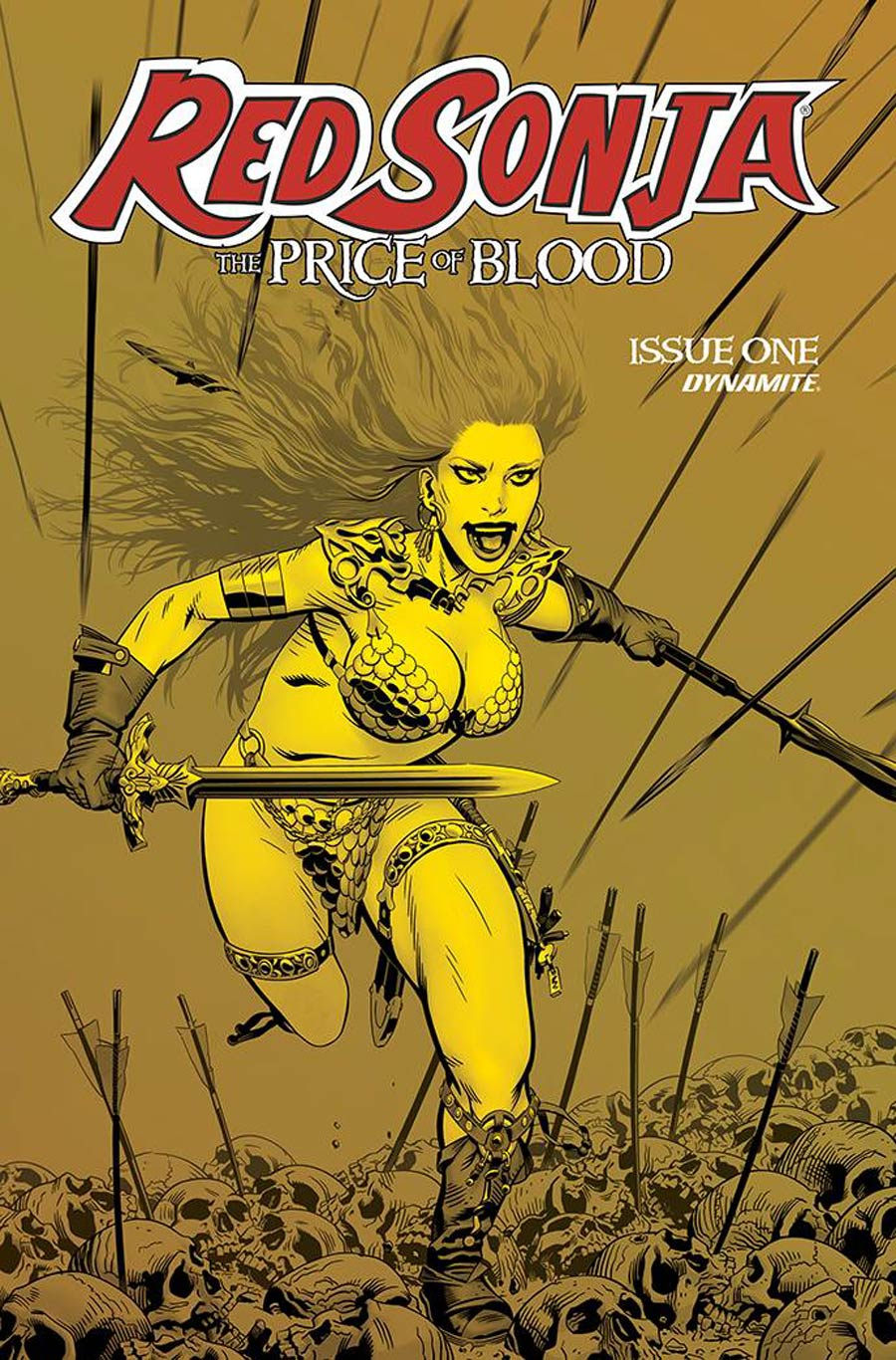 Red Sonja Price Of Blood #1 Cover J Incentive Michael Golden Gold Tint Cover
