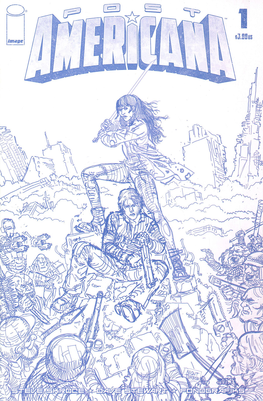 Post Americana #1 Cover E Incentive Steve Skroce Blueline Cover