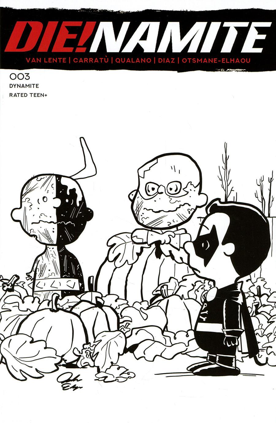 DieNamite #3 Cover J Incentive Jacob Edgar Peanuts Homage Line Art Cover