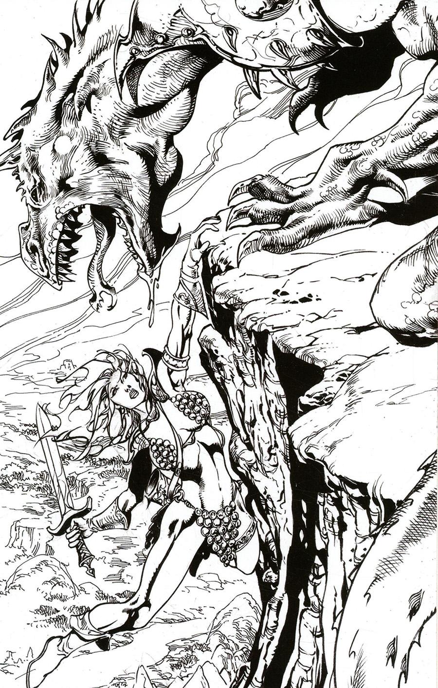 Killing Red Sonja #5 Cover G Incentive Roberto Castro Black & White Virgin Cover