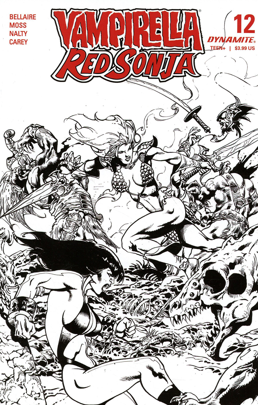 Vampirella Red Sonja #12 Cover G Incentive Roberto Castro Black & White Cover
