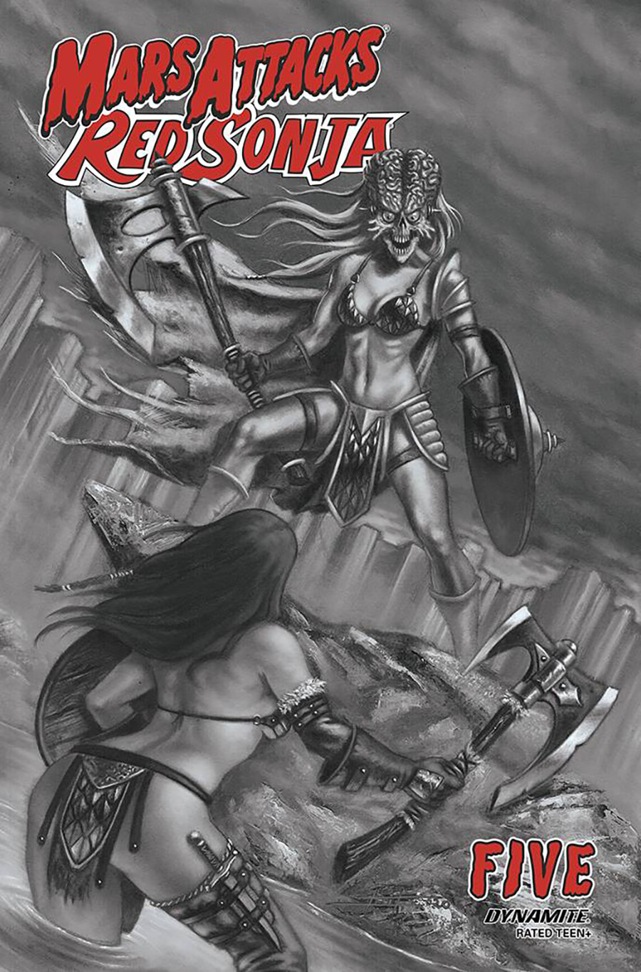Mars Attacks Red Sonja #5 Cover D Incentive Luca Strati Black & White Cover